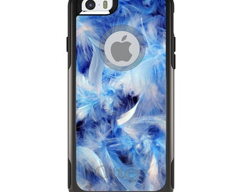 OtterBox Commuter for Apple iPhone 5S SE 5C 6 6S 7 8 PLUS X 10 - Custom Monogram - Any Colors - Blue Feathers