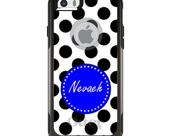 OtterBox Commuter for Apple iPhone 5S SE 5C 6 6S 7 8 PLUS X 10 - Custom Monogram or Image - White Royal Blue Polka Dots