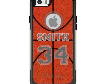 OtterBox Commuter for Apple iPhone 5S SE 5C 6 6S 7 8 PLUS X 10 - Custom Monogram or Image - Basketball Gray Number Name