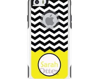 OtterBox Commuter for Apple iPhone 5S SE 5C 6 6S 7 8 PLUS X 10 - Custom Monogram or Image - Black White Chevron Yellow Name