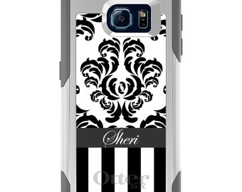 OtterBox Commuter for Galaxy S4 / S5 / S6 / S7 / S8 / S8+ / Note 4 5 8 - CUSTOM Monogram Name Initials - Black White Damask Stripes