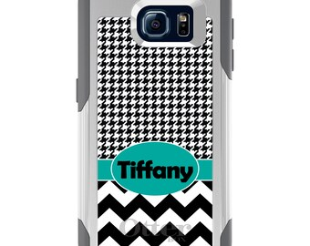 OtterBox Commuter for Galaxy S4 / S5 / S6 / S7 / S8 / S8+ / Note 4 5 8 - CUSTOM Monogram Name Initials - Black Teal Chevron Houndstooth