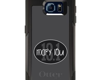 OtterBox Commuter for Galaxy S4 / S5 / S6 / S7 / S8 / S8+ / Note 4 5 8 - CUSTOM Monogram Name Initials - Black Oval 13.1 Name