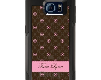 OtterBox Commuter for Galaxy S4 / S5 / S6 / S7 / S8 / S8+ / Note 4 5 8 - CUSTOM Monogram Name Initials - Brown Pink Floral Pattern Name
