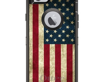 USA Flag OtterBox Defender / Apple iPhone OR Samsung Galaxy / Old Glory Red Blue / Custom Personalized Monogrammed / Any Color / Any Font