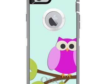 CUSTOM OtterBox Defender Case for Apple iPhone 6 6S 7 8 PLUS X 10 - Personalized Monogram - Pink Owl Cartoon