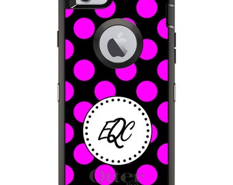 CUSTOM OtterBox Defender Case for Apple iPhone 6 6S 7 8 PLUS X 10 - Personalized Monogram - Pink Black White Polka Dots