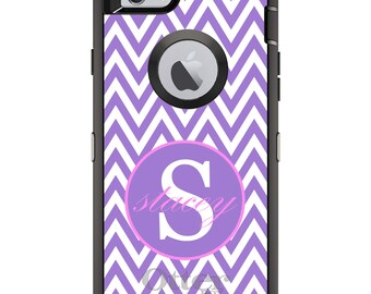 CUSTOM OtterBox Defender Case for Apple iPhone 6 6S 7 8 PLUS X 10 - Personalized Monogram - Purple White Pink Chevron