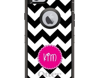 CUSTOM OtterBox Defender Case for Apple iPhone 6 6S 7 8 PLUS X 10 - Personalized Monogram - Black White Chevron Pink Circle