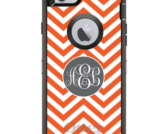 CUSTOM OtterBox Defender Case for Apple iPhone 6 6S 7 8 PLUS X 10 - Personalized Monogram - Orange White Grey Chevron Circle