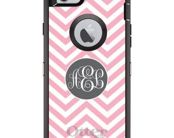CUSTOM OtterBox Defender Case for Apple iPhone 6 6S 7 8 PLUS X 10 - Personalized Monogram - Pink White Grey Chevron Circle