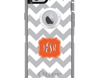 CUSTOM OtterBox Defender Case for Apple iPhone 6 6S 7 8 PLUS X 10 - Personalized Monogram - Grey White Chevron Orange Frame