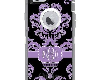 CUSTOM OtterBox Defender Case for Apple iPhone 6 6S 7 8 PLUS X 10 - Personalized Monogram - Lavender Black White Damask Ribbon