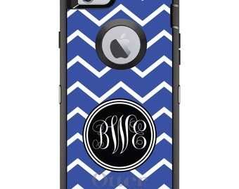 CUSTOM OtterBox Defender Case for Apple iPhone 6 6S 7 8 PLUS X 10 - Personalized Monogram - Royal Blue White Chevron