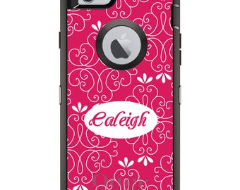 CUSTOM OtterBox Defender Case for Apple iPhone 6 6S 7 8 PLUS X 10 - Personalized Monogram - Hot Pink White Floral Name