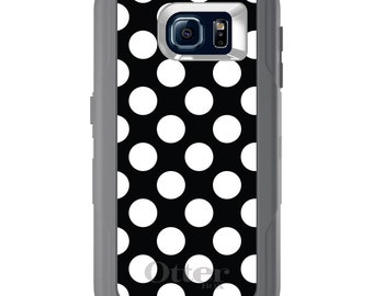 Custom OtterBox Defender for Galaxy S5 S6 S7 S8 S8+ Note 5 8 Any Color / Font - White Black Polka Dots