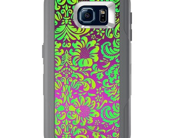 Custom OtterBox Defender for Galaxy S5 S6 S7 S8 S8+ Note 5 8 Any Color / Font - Purple Green Floral Pattern