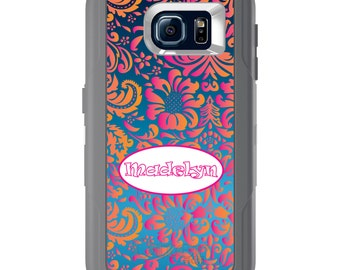 Custom OtterBox Defender for Galaxy S5 S6 S7 S8 S8+ Note 5 8 Any Color / Font - Pink Orange Damask Oval