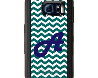 Custom OtterBox Defender for Galaxy S5 S6 S7 S8 S8+ Note 5 8 Any Color / Font - Teal Chevron Blue Initial