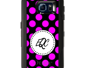 Custom OtterBox Defender for Galaxy S5 S6 S7 S8 S8+ Note 5 8 Any Color / Font - Pink Black White Polka Dots
