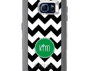Custom OtterBox Defender for Galaxy S5 S6 S7 S8 S8+ Note 5 8 Any Color / Font - Black White Chevron Green Circle