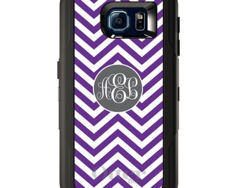 Custom OtterBox Defender for Galaxy S5 S6 S7 S8 S8+ Note 5 8 Any Color / Font - Purple White Grey Chevron Circle