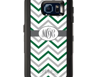 Custom OtterBox Defender for Galaxy S5 S6 S7 S8 S8+ Note 5 8 Any Color / Font - Dark Green White Grey Chevron