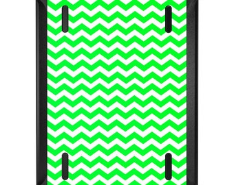 Custom OtterBox Defender for Apple iPad 2 3 4 / Air 1 2 / Mini 1 2 3 4 - CUSTOM Monogram - Green White Chevron Stripes Wave