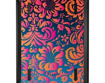 Custom OtterBox Defender for Apple iPad 2 3 4 / Air 1 2 / Mini 1 2 3 4 - CUSTOM Monogram - Pink Orange Blue Flower Floral