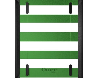 Custom OtterBox Defender for Apple iPad 2 3 4 / Air 1 2 / Mini 1 2 3 4 - CUSTOM Monogram - Green & White Bold Stripes