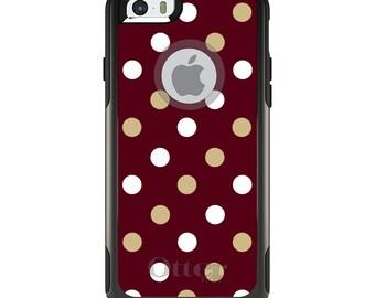 OtterBox Commuter for Apple iPhone 5S SE 5C 6 6S 7 8 PLUS X 10 - Custom Monogram - Florida State University FSU Seminoles Colors - Polka Dot