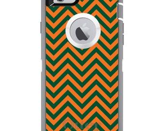 Custom OtterBox Defender Case for Apple iPhone 6 6S 7 8 PLUS X 10 - Monogram - University of Miami UM Hurricanes Colors - Chevron