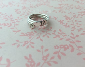 stacked ring set, sterling silver, initials and love heart set, personlaised, hand stamped, custom