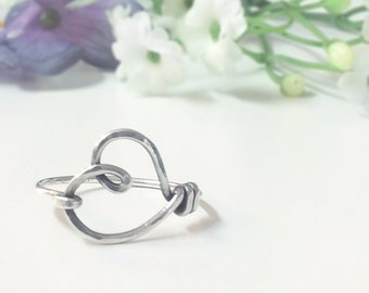 Sterling Silver Ring, Silver Heart, Handmade Silver Ring, Bridesmaid Gift, Wedding, Gift for Her