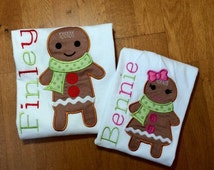 Set of Personalized Christmas Gingerbread Cookie Shirts, Rompers, Dresses, or Onesies