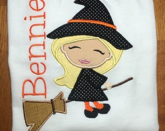Personalized Witch On Broom Shirt, Onesie, Romper or Dress