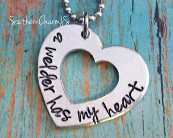 a welder has my heart hand stamped heart  hand stamped necklace or key chain