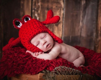 SUMMER SALE, CRAB hat, crochet, photography prop, Newborn, baby boy, baby girl