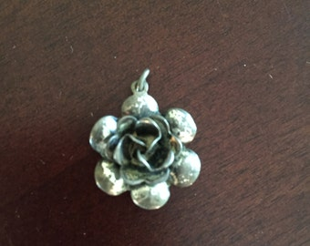 Vintage Sterling Silver Flower Necklace Pendant