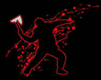 Knight Throwing Axe METALLIC Splats Character T-shirt