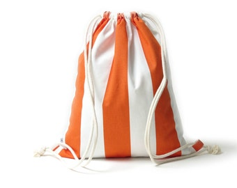 Gym bag. Trend bag orange white striped. Hipster