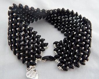 Superduo herringbone weave bracelet black and silver