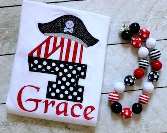 Girls Pirate Birthday shirt  Pirate Birthday for Girls shirt Birthday pirate shirt with number Girls black and red stripe polka dot shirt