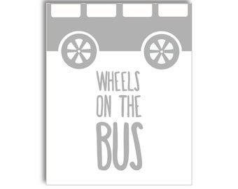 Wheels on the Bus Nursery Printable - Grey