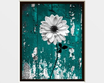 Rustic Country Teal Decor, Teal Gray Floral Bathroom Bedroom Farmhouse Wall Art Picture  8x10 print matted to 11x14 white mat