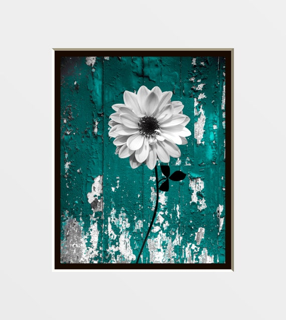 Rustic Floral Wall Art Photography In Teal Decorative Bedroom