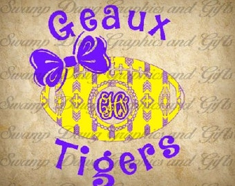 Geaux Tigers Aztec Football with bow cut file, silhouette, cricut, svg, college, LSU, tiger fan, digital file, cut file, decal, vinyl