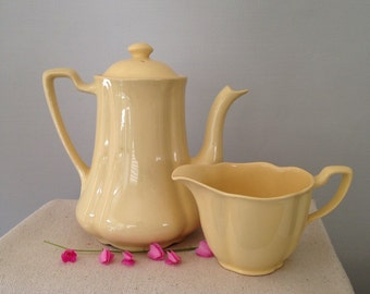 Yellow Teapot and Creamer