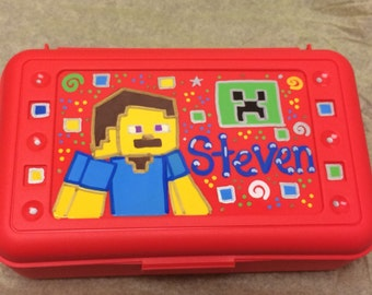 Minecraft Custom Personalized Pencil Crayon Art Box Creeper Steve Inspired Boys or Girls Rhinestones W/ Bling Great for School Party Favors
