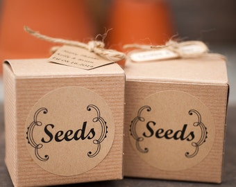 Seed Gift Box Set with 3 Herb or Flower Seed Packets, Colourful Folklore Tags, Wooden Plant markers & Personalized Card tied with twine